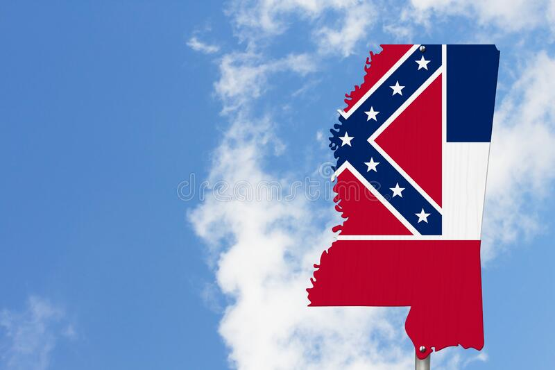 State of Mississippi road sign in the shape of the state map with the flag royalty free stock photography