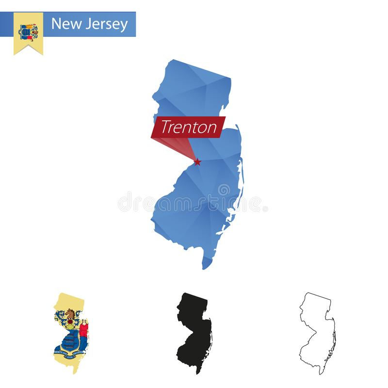 State of New Jersey blue Low Poly map with capital Trenton. Versions with flag, black and outline. Vector Illustration royalty free illustration