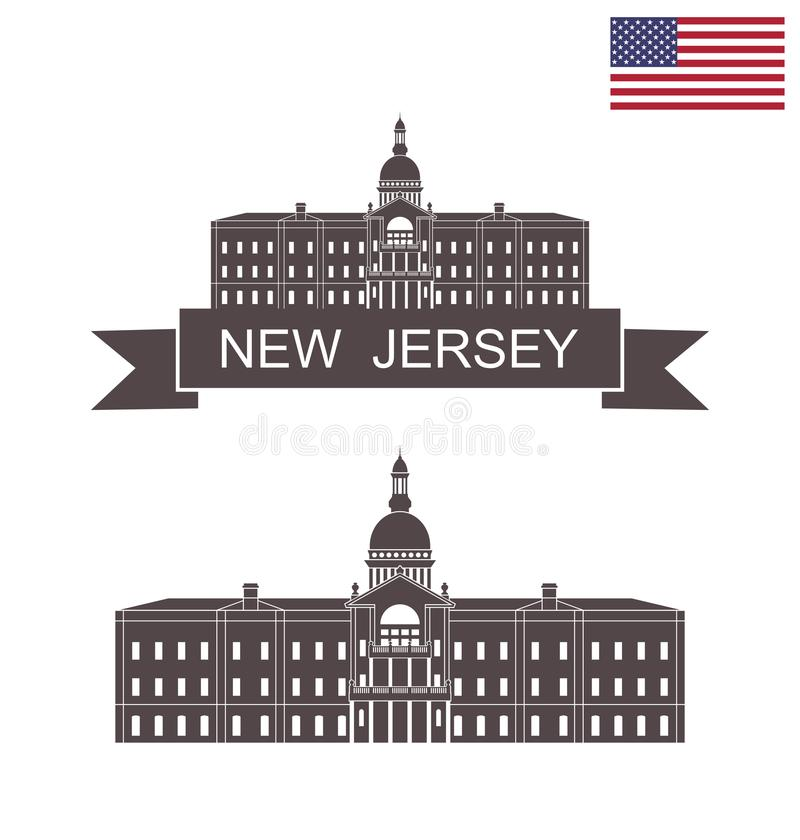 State of New Jersey. New Jersey state capitol building in Trenton. EPS 10. Vector illustration vector illustration