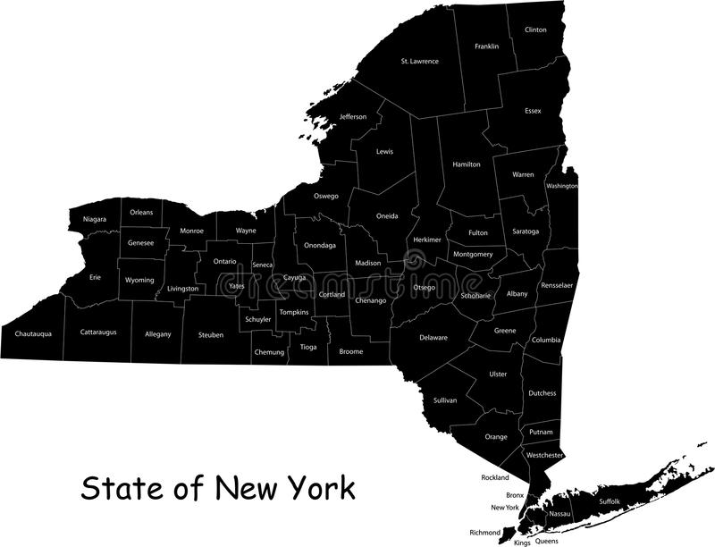 State of New York. Blind map of New York state designed in illustration with the counties royalty free illustration