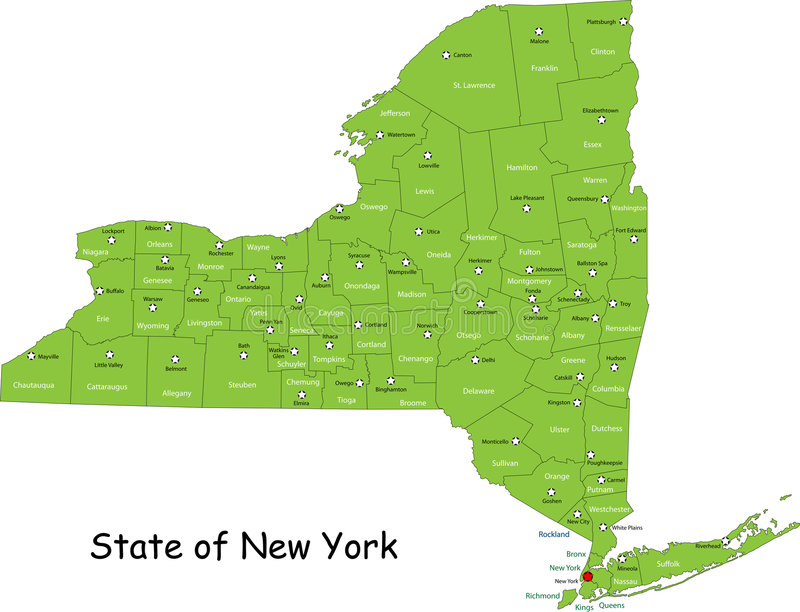 State of New York. Designed in illustration with the counties and the main cities. (Map is hight resolution