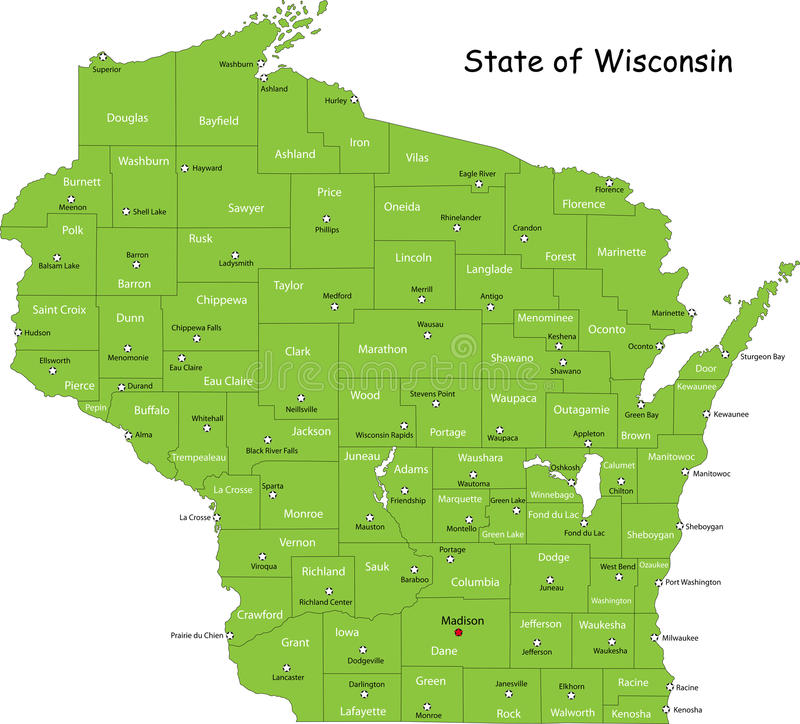 Free State Of Wisconsin Royalty Free Stock Photos - 9386648