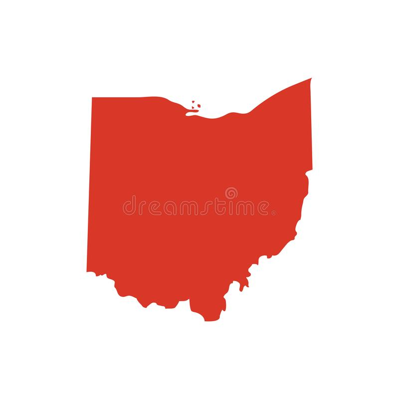 State of Ohio vector map silhouette. OH state shape icon. Outline contour map of Ohio. stock illustration