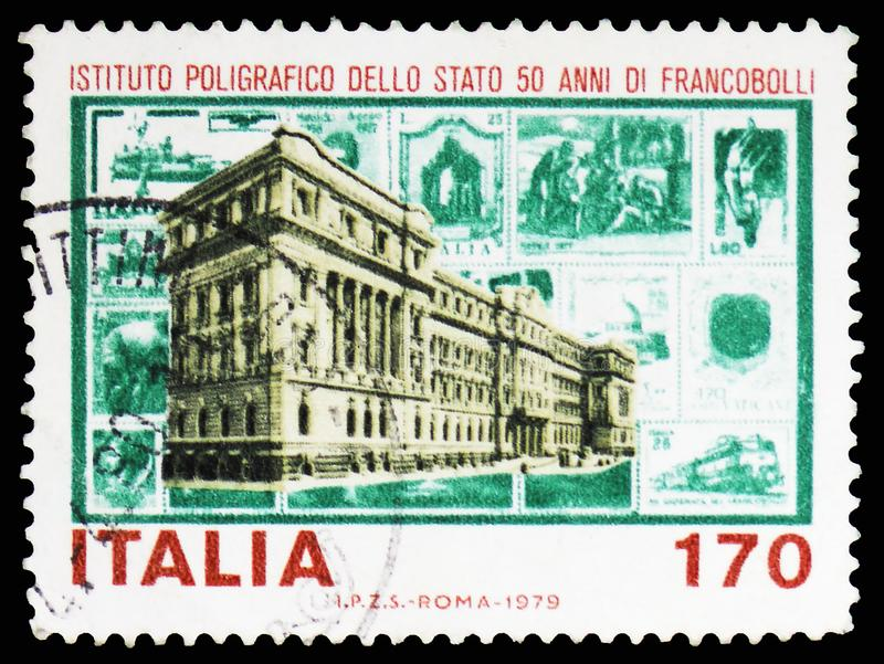 State Polygraphic Institute, serie, circa 1979. MOSCOW, RUSSIA - FEBRUARY 10, 2019: A stamp printed in Italy shows State Polygraphic Institute, serie, circa 1979 royalty free stock image