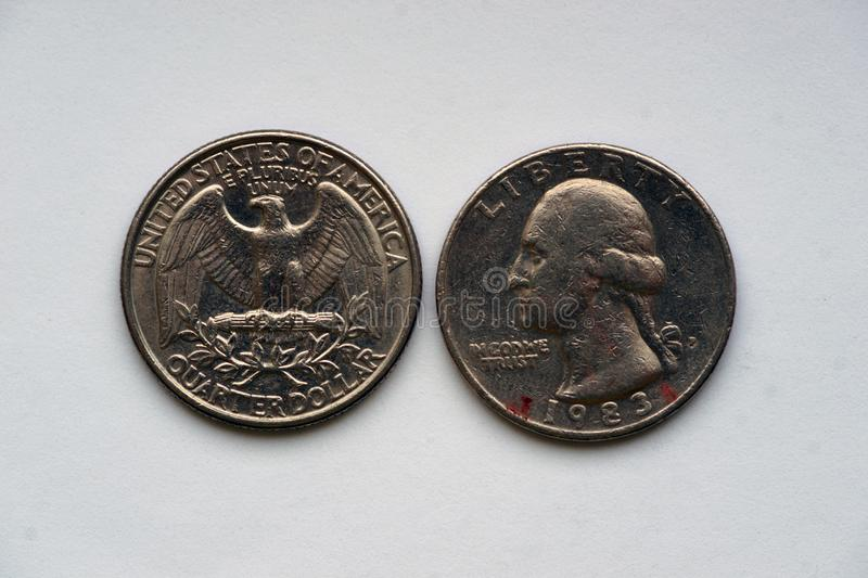State Quarter 25 cents - 1/4 Dollar USA. Circulating commemorative coin. Quarter Dollar = 25 Cents. Obverse: The portrait in left profile of George Washington stock image