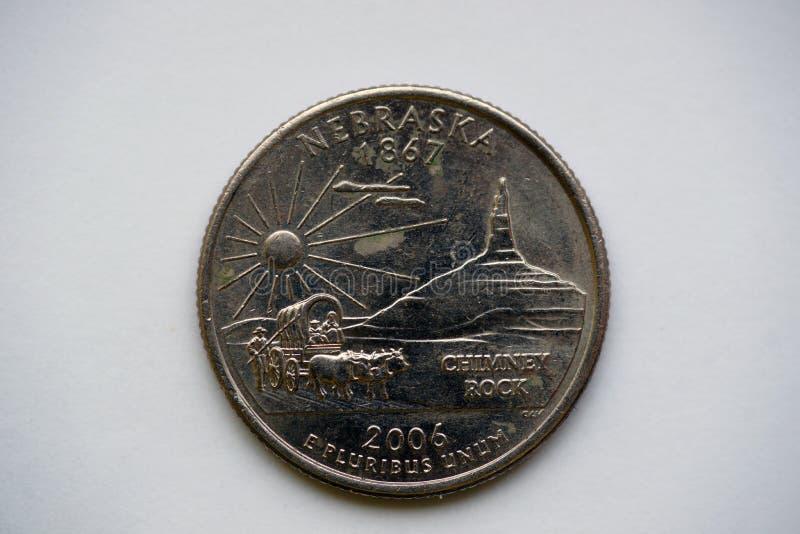1/4 Dollar `Washington Quarter` Nebraska. State Quarter 25 cents. `Washington Quarter` - quarter dollar. United States Mint`s 50 State Quarters Program royalty free stock images