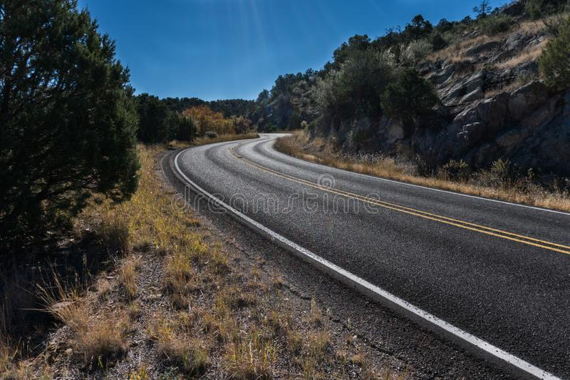 State road 152 in southwest New Mexico. State highway 152 winds it`s way between Hillsboro and Silver city New Mexico royalty free stock image