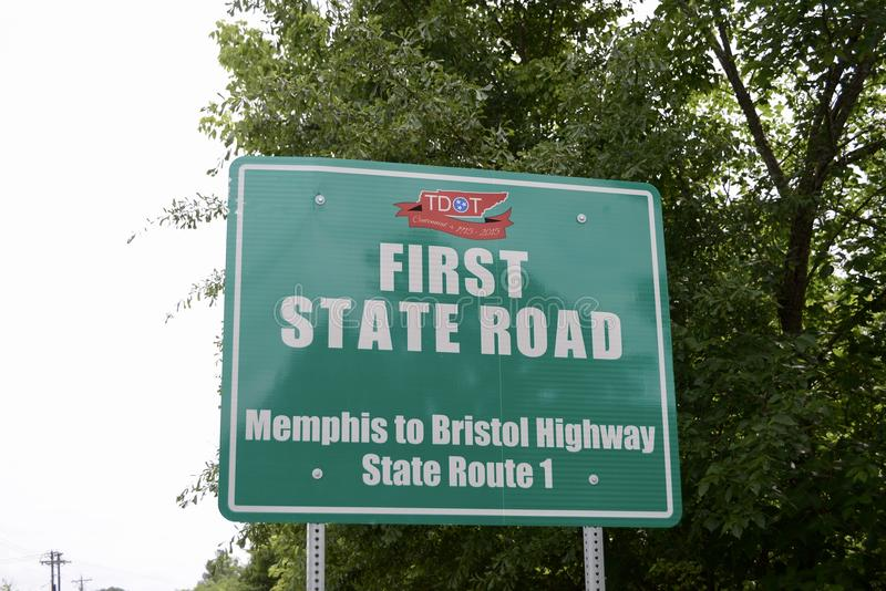 Memphis to Bristol Highway Sign stock image