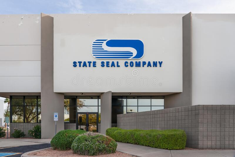 State Seal Company in Chandler Arizona. Chandler, AZ - Dec. 2, 2019: State Seal Company is a manufacturer and distributor of seals and gaskets stock photography