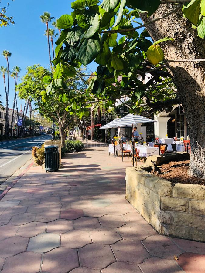 State Street in Santa Barbara. View of green state street in Santa Barbara, California stock images