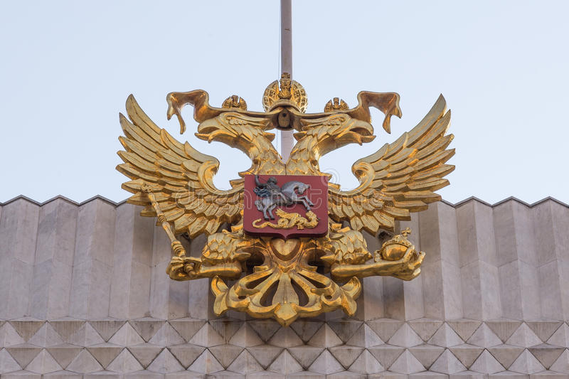 State symbols of Russia's, emblem. Of the double-headed eagle royalty free stock photos