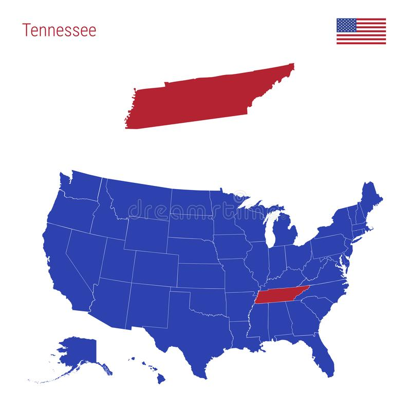The State of Tennessee is Highlighted in Red. Vector Map of the United States Divided into Separate States vector illustration