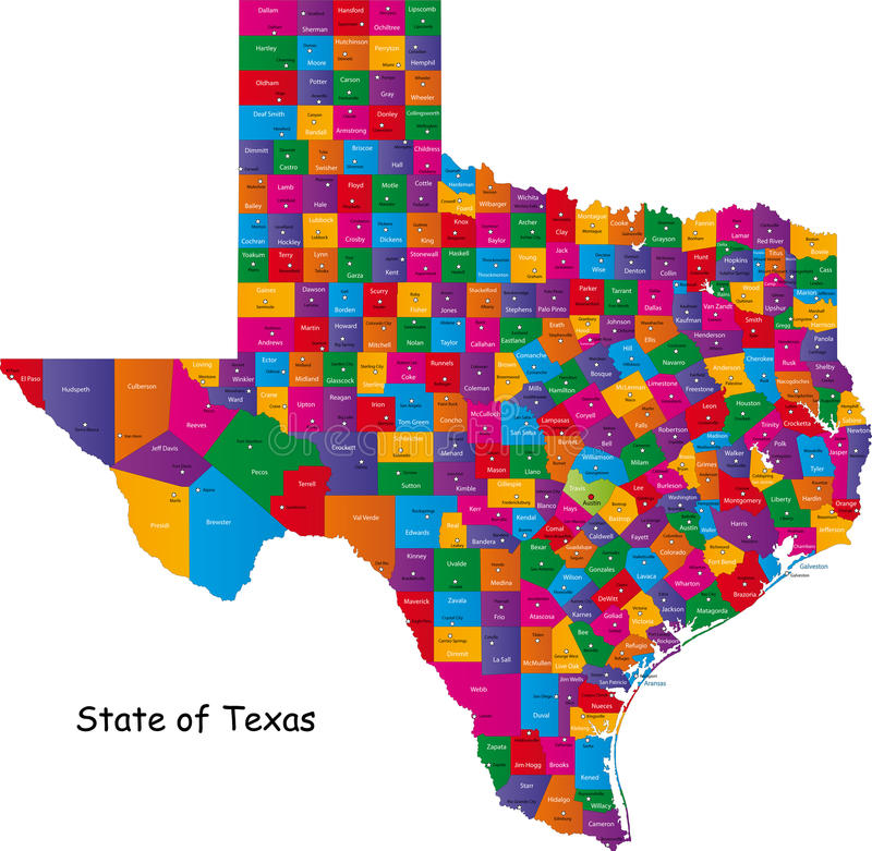 State of Texas. Colorful illustrated design of the map of Texas (USA), including counties and county seats. Isolated against a white background
