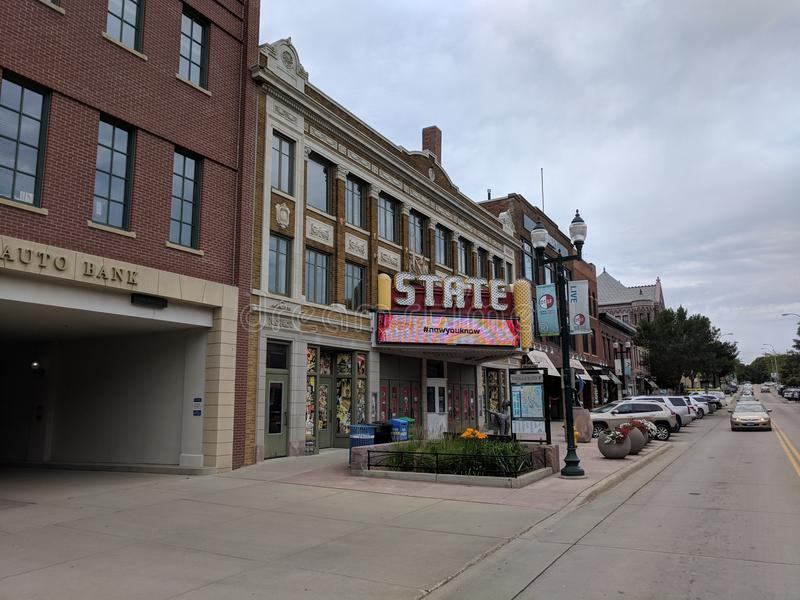 The State Theater, Downtown Sioux Falls. The State, on Phillips Ave in Sioux Falls, is currently undergoing restoration and renovation construction stock photo