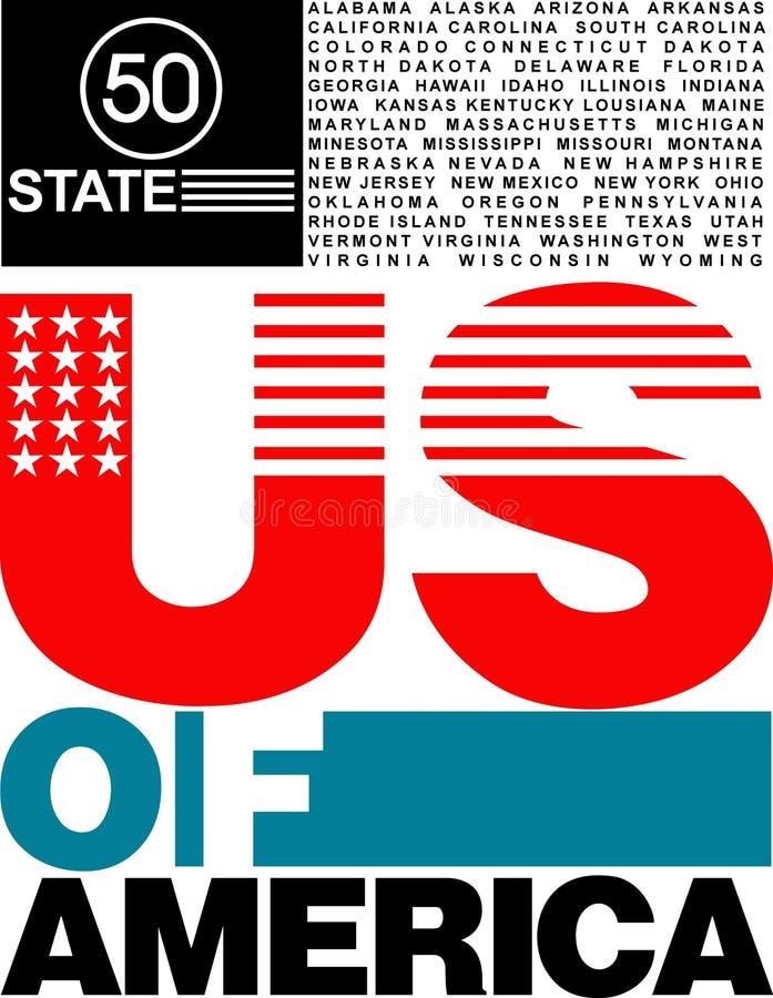 50 state USA design of t-shirt stock illustration