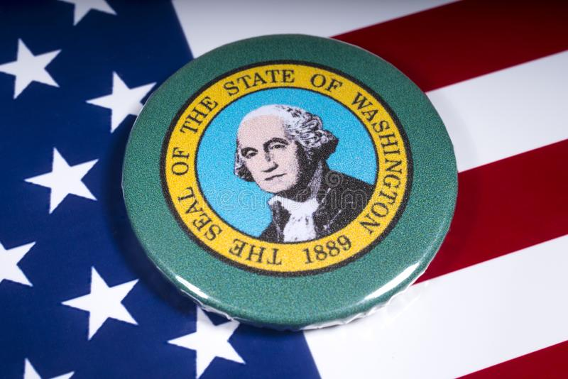 The State of Washington. London, UK - November 15th 2018: A badge portraying the seal of the State of Washington, pictured over the flag of the United States of stock images