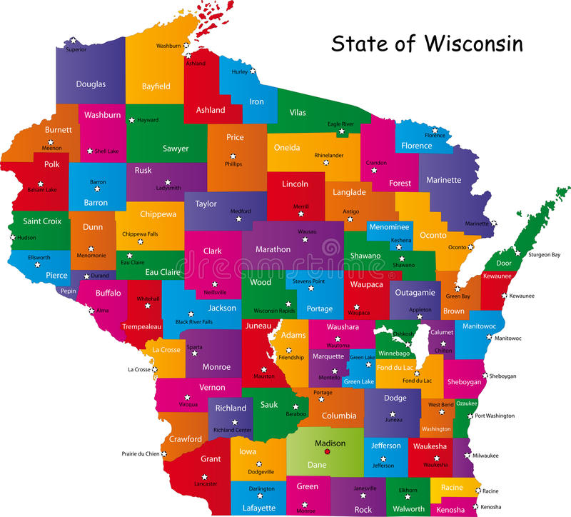 State of Wisconsin. Map of Wisconsin state designed in illustration with the counties and the county seats. (Map is hight resolution