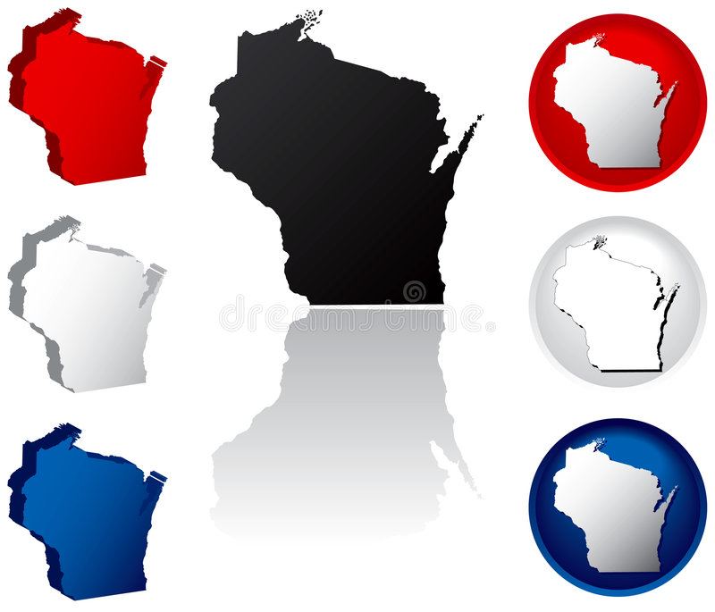 State of Wisconsin Icons stock illustration