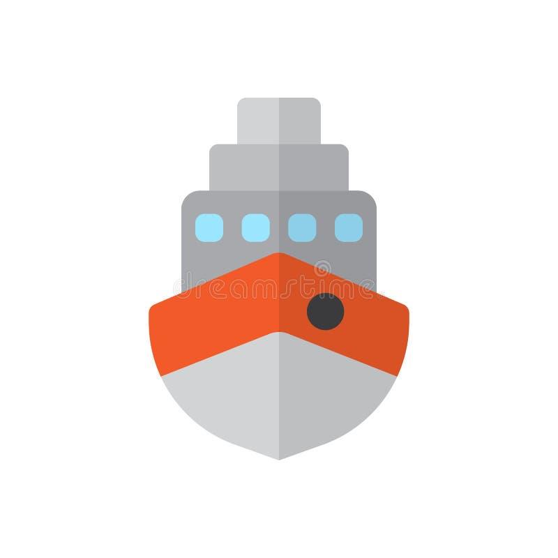 Statek, łódkowata płaska ikona, wypełniający wektoru znak, kolorowy piktogram odizolowywający na bielu ilustracji