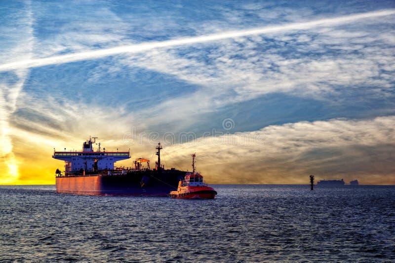 Statek i zmierzch obrazy stock