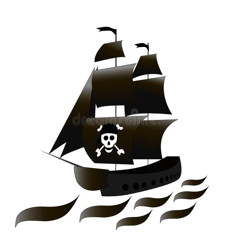 Statek jest fregatą z czarnymi żaglami i czaszką Wektorowy czarny i biały rysunek na białym odosobnionym tle nakreślenie royalty ilustracja