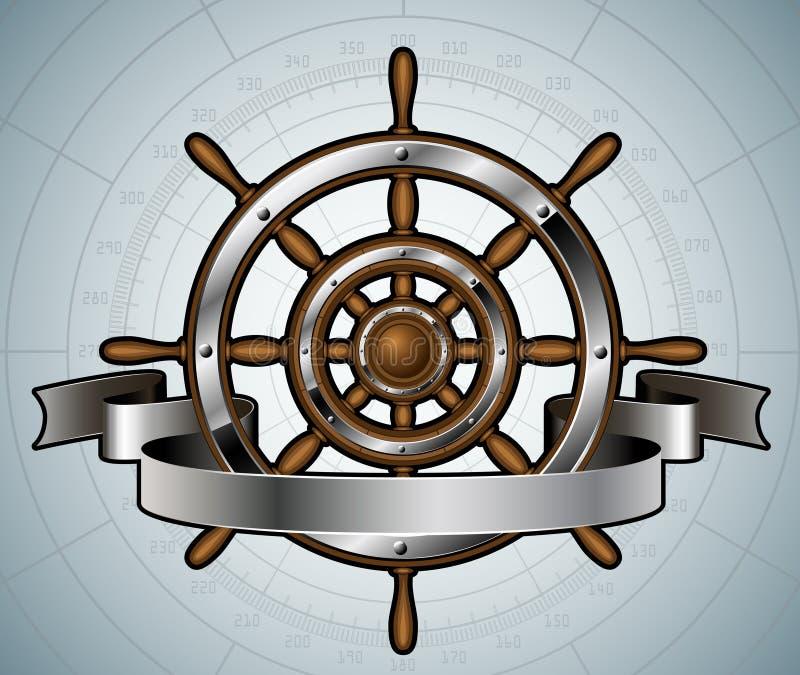 Statek kierownica z sztandarem. ilustracja wektor