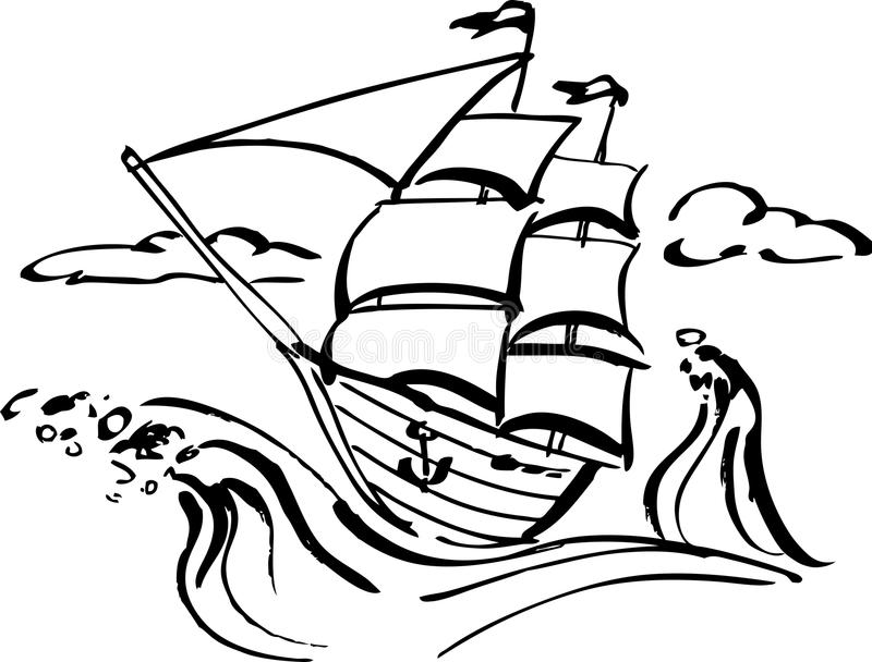 Statek klamerki sztuka royalty ilustracja