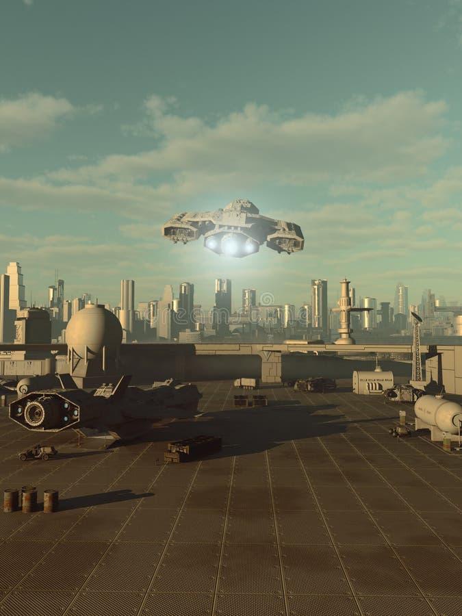 Statek kosmiczny Bierze Daleko od Przyszłościowego miasta Spaceport royalty ilustracja