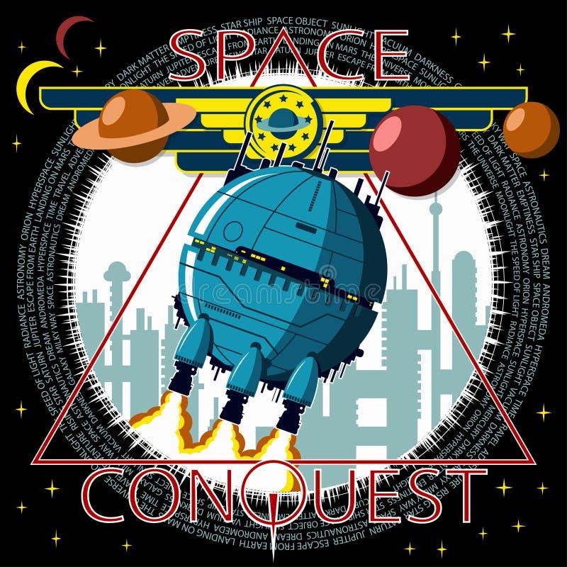 Statek kosmiczny bierze daleko przeciw tłu miasto royalty ilustracja