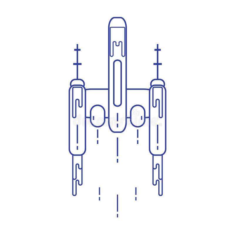 Statek kosmiczny Eksploracja przestrzeni kosmicznej, nauka, technologia Projekt dla sztandaru, plakata lub druku, royalty ilustracja