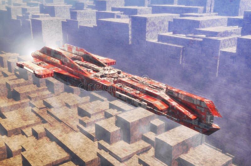 Statek kosmiczny i obca planety powierzchnia royalty ilustracja