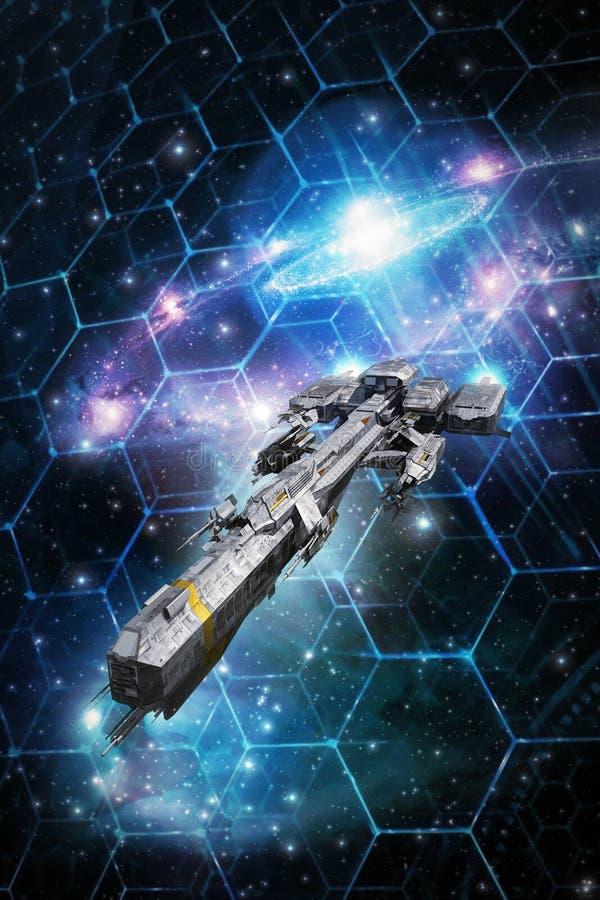 Statek kosmiczny i przestrzeni taktyczna siatka royalty ilustracja