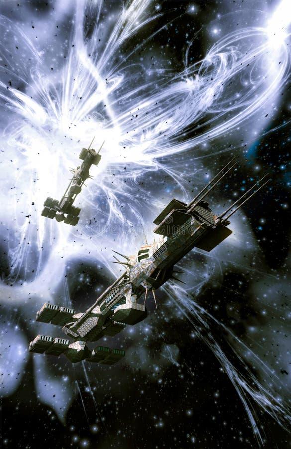 Statek kosmiczny i supernowy royalty ilustracja