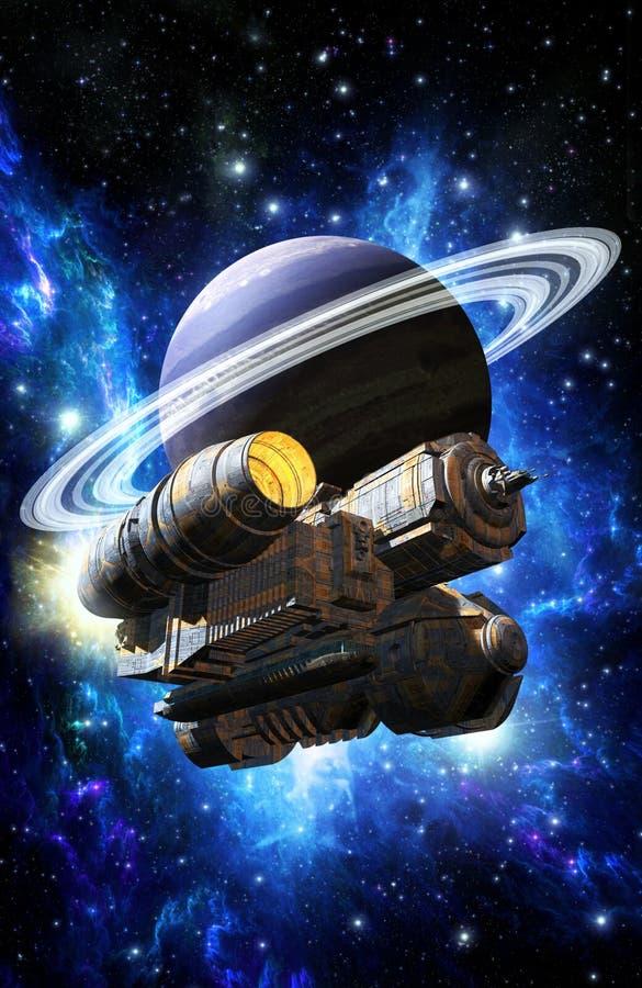 Statek kosmiczny i upierścieniona planeta ilustracji