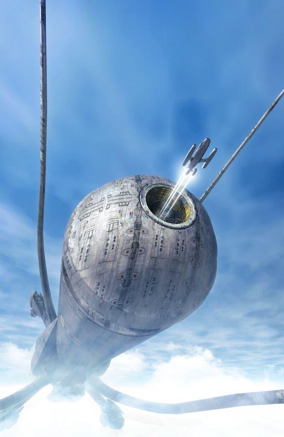 Statek kosmiczny i wojownik nad chmurami ilustracji