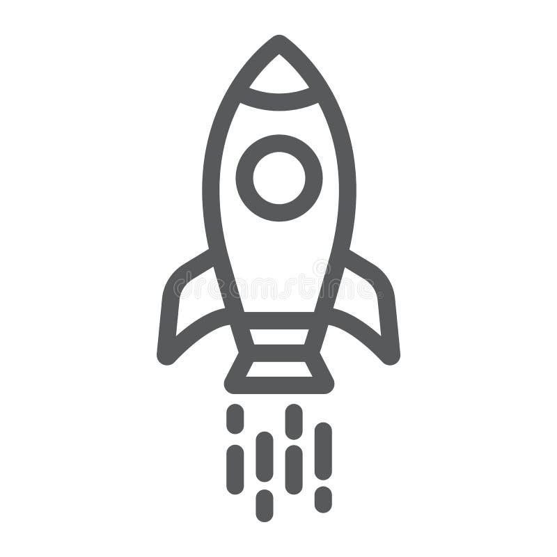 Statek kosmiczny kreskowa ikona, wahadłowiec i kosmos, rakieta znak, wektorowe grafika, liniowy wzór na białym tle ilustracji