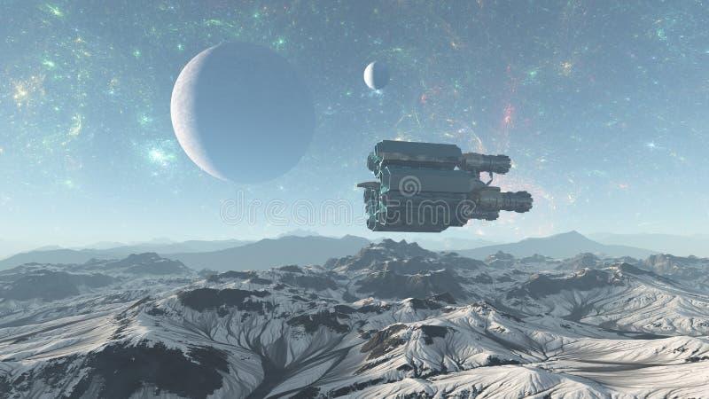 Statek kosmiczny lata nad obcą planety mountains-3d ilustracją - 3d Odpłacają się royalty ilustracja