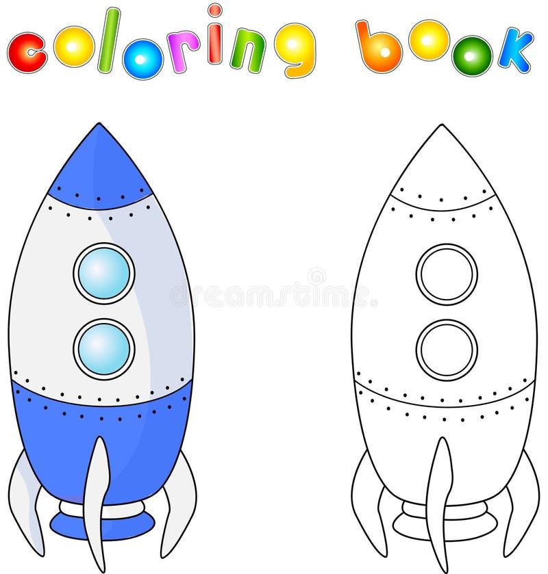Statek kosmiczny lub kosmiczny pojazd Kolorystyki książka dla dziecka abou ilustracja wektor