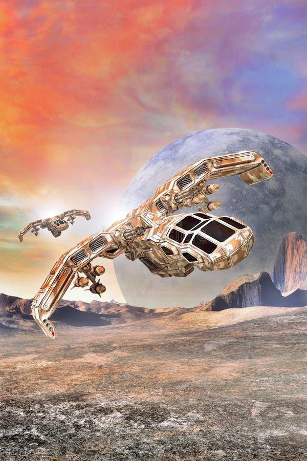 Statek kosmiczny myśliwska bombowiec ilustracja wektor