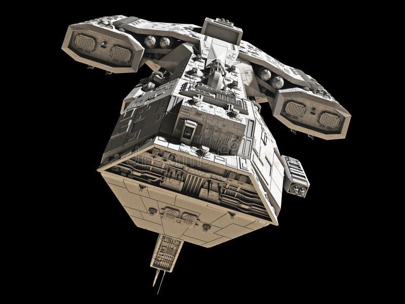 Statek kosmiczny na czerni - frontowy widok royalty ilustracja