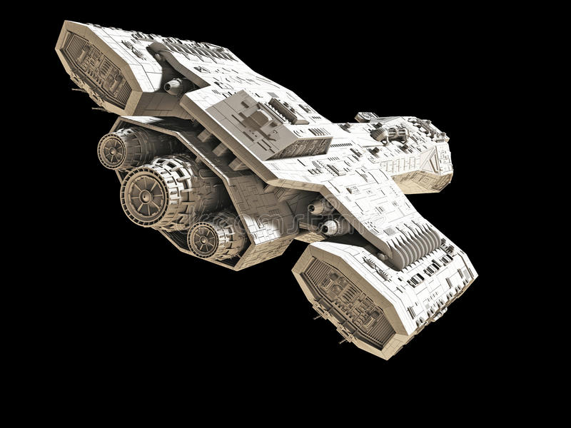 Statek kosmiczny na czerni - tyły wędkujący widok royalty ilustracja