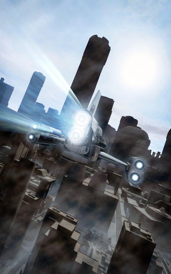 Statek kosmiczny nad futurystycznym miastem royalty ilustracja