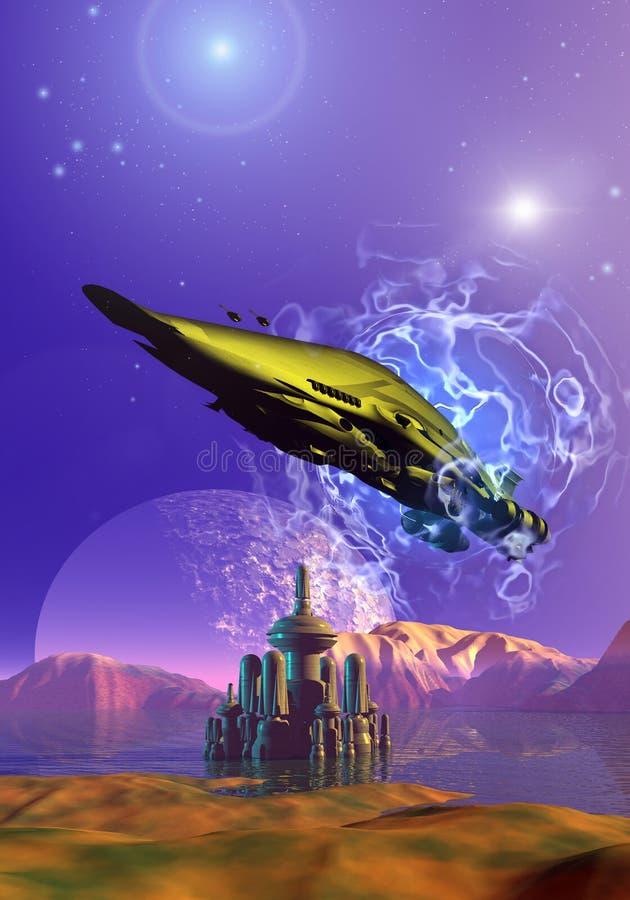 Statek kosmiczny nad futurystycznym miastem ilustracja wektor
