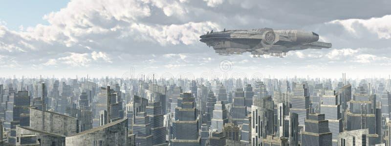 Statek kosmiczny nad miastem ilustracja wektor