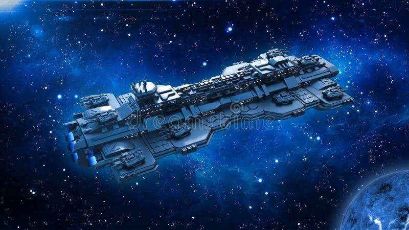 Statek kosmiczny podróżuje w głębokiej przestrzeni, obcym UFO statku kosmicznego lataniu w wszechświacie z planetą i gwiazdach, o ilustracja wektor
