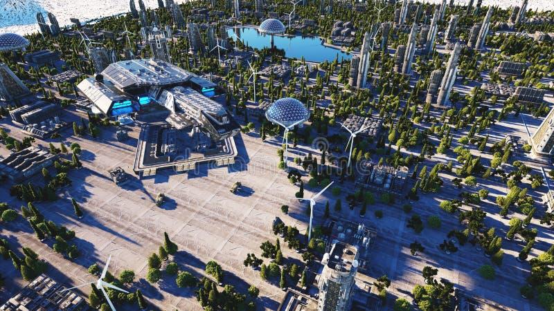 Statek kosmiczny w futurystycznym mieście, miasteczko Pojęcie przyszłość widok z lotu ptaka świadczenia 3 d ilustracji
