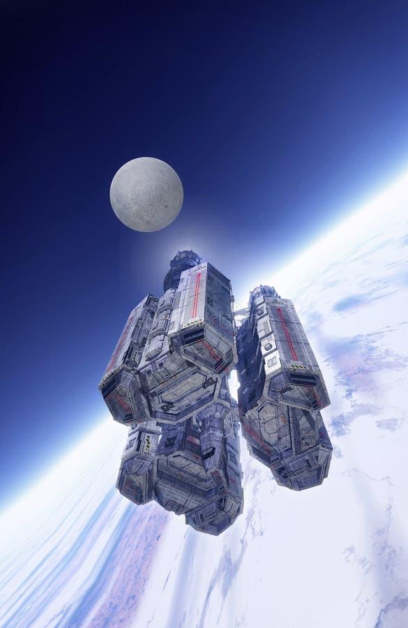 Statek kosmiczny w orbicie ilustracja wektor