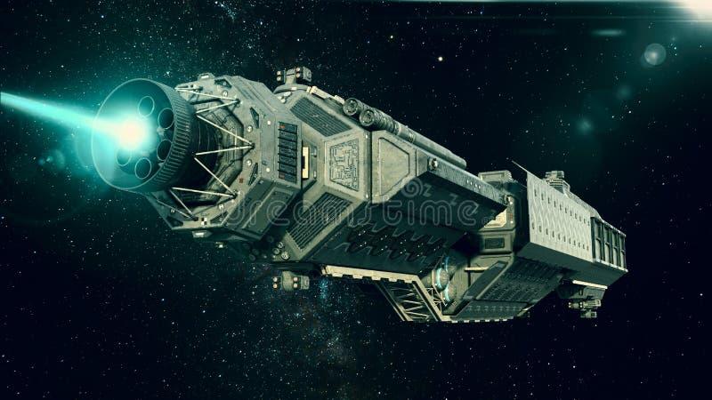 Statek kosmiczny w przestrzeni, statku kosmicznego latanie przez wszechświatu z jaskrawą gwiazdą w odległości, dolny tylni widok ilustracja wektor