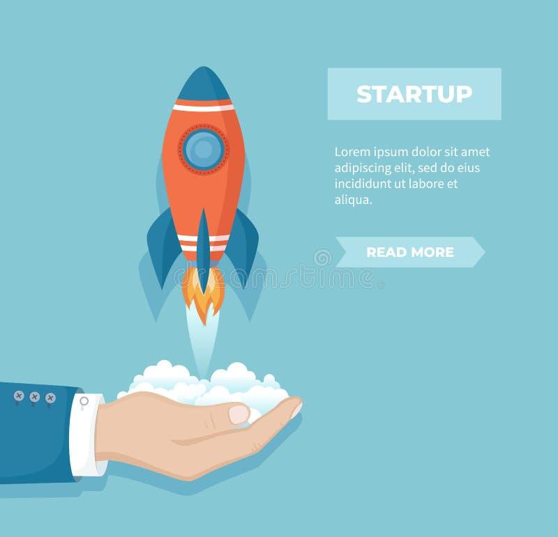 Statek kosmiczny w ręce Biznesowego rozpoczęcia pojęcie Biznesmen wszczyna rakietę w niebo Pieniężnego planowania biznesu produkt ilustracja wektor