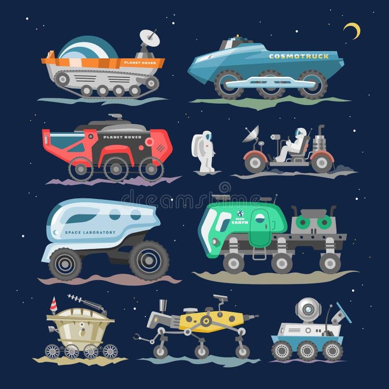 Statek kosmiczny, statek kosmiczny z kosmita rekonesansowej księżyc ilustracyjną eksploracją ustawiającą i royalty ilustracja